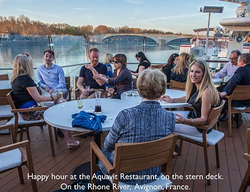 Happy hour at the Aqavit Restaurant on the stern dec